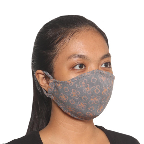 3 Double Layer Grey Floral Cotton Print Ear Loop Masks 'Cheerful Grey'
