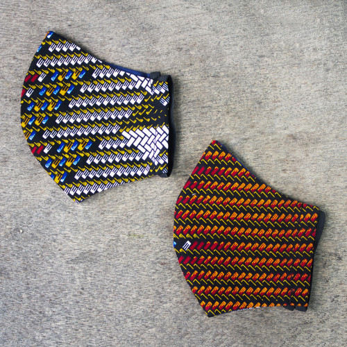 2 African Print Contoured 2-Layer Cotton Face Masks 'Diagonal Colors'