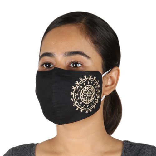 2 Hand Embroidered Contoured Black Cotton Face Masks 'Mandala Moon'