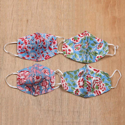4 Handmade 2-Layer Blue  Red Cotton Masks with Block Prints 'Blossoms on Blue'