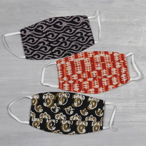 3 Reversible Block Print 2-Layer Pleated Cotton Face Masks 'Block Print Arts'
