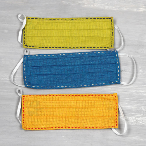 3 Kantha Embroidered 2-Layer Pleated Cotton Face Masks 'Kantha in Colors'