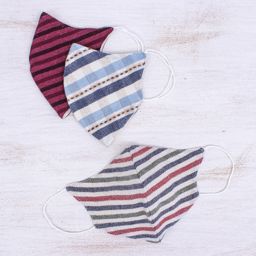 3 Handcrafted Thai Cotton Filter Pocket Adult Face Masks 'Today's Styles'