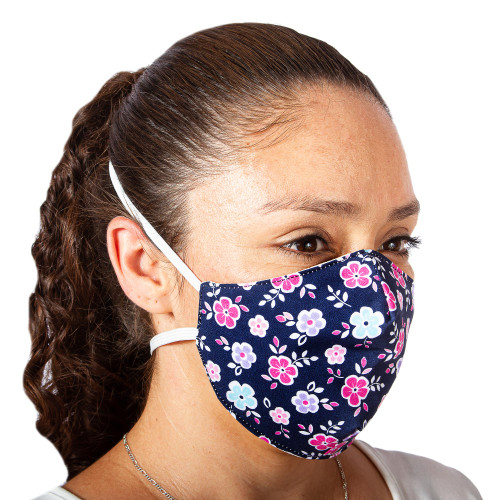 2 Double Layer Blue Polyester Print Cotton Headband Masks 'Pretty Pink Flowers'