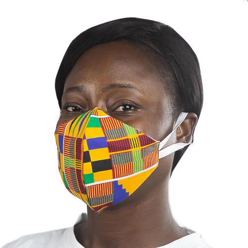 Ghanaian African Kente Print Cotton 2-Layer Ear Loops Mask 'Kente Melange'