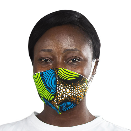 African Abstract Print 2-Layer Cotton Ear Loop Face Mask 'Fresh Fashion'