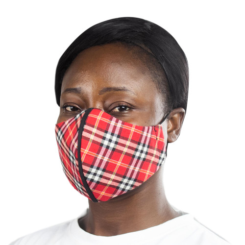 Red Cotton Plaid 2-Layer Mask wEar Loops 'Red Plaid Classic'