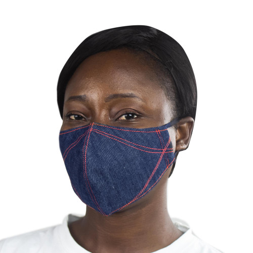 Blue Denim Cotton 2-Layer Mask with Ear Loops 'Blue Denim Fashion'