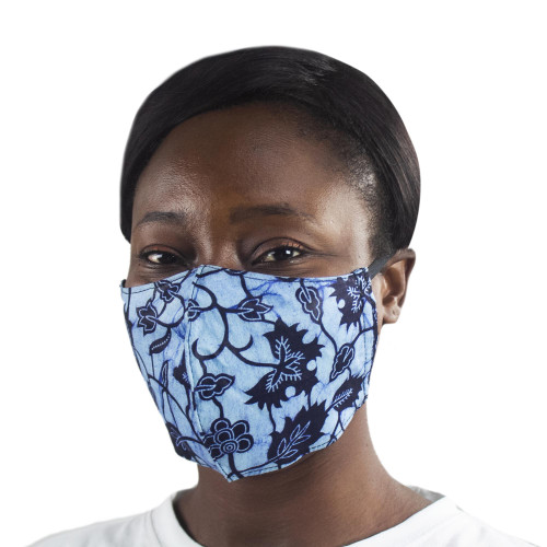 2 African Print Cotton Tie-On Family Pack Masks in Blue 'Family Fashion'