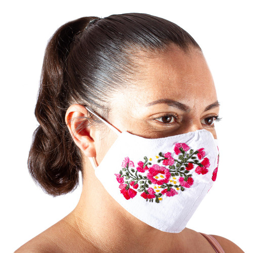 Hand Embroidered Reusable Cotton Mask from Mexico 'Rose Garden'