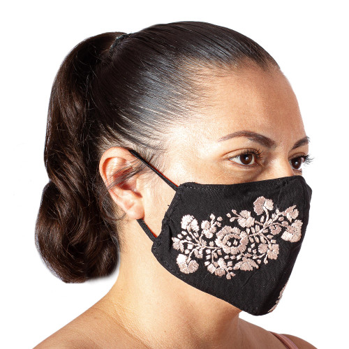 Black and Beige Floral Face Mask with 2 Layers 'Flower Garden in Beige'