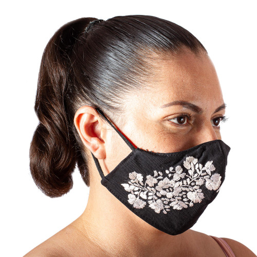 Reusable and Washable Black Cotton Floral Face Mask 'Flower Garden in Ivory'