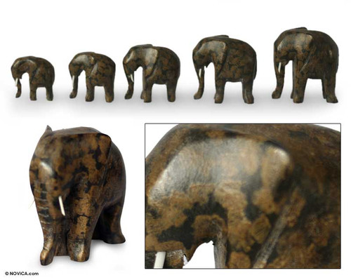 Wood Elephant Sculpture Set of 5 'African Elephants'