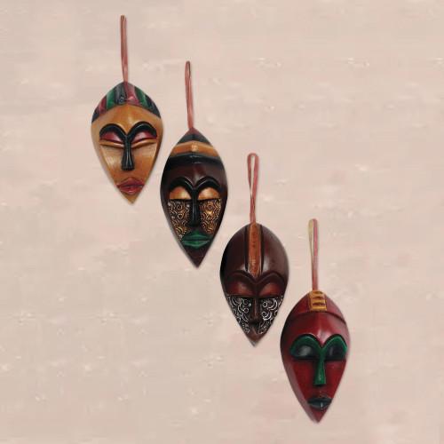African Wood Christmas Ornaments Set of 4 'Celebration Masks'