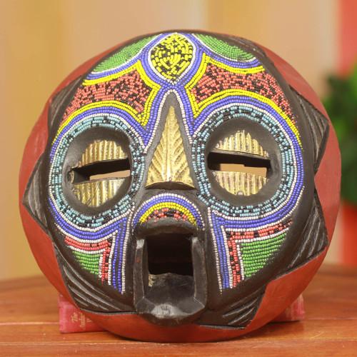Hand Beaded Nigerian Wood Mask 'My Beautiful Woman'