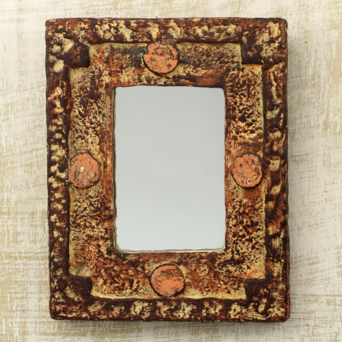 Rustic Wood Mirror 'Hand of the Lord'