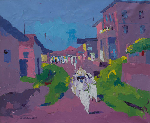 African Landscape Expressionist Painting 'Obatala Worshipers'