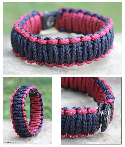 Men's Handcrafted Cord Bracelet 'Amina in Navy Wine'
