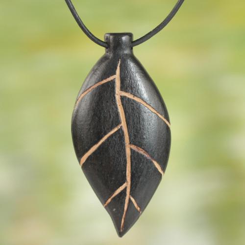 Unique Teakwood Leaf Pendant Necklace 'Plants Are Life'