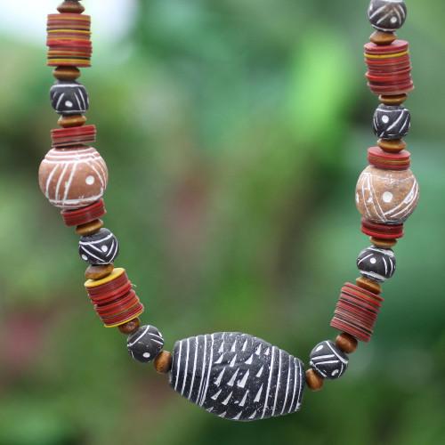 Fair Trade Ceramic Beaded Necklace 'Tempoka'