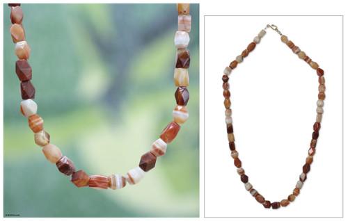 Agate beaded necklace 'Lady of Kumasi'