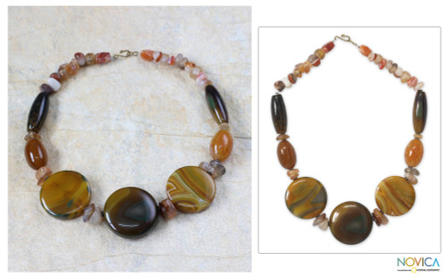 Agate beaded necklace 'Savio Light'
