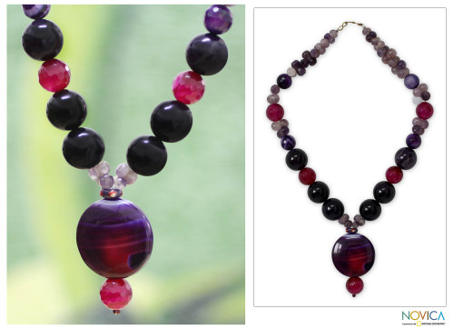 Quartz and Chalcedony Beaded Necklace 'Love Honors'