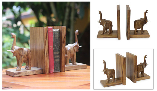 Hand Carved Wood Bookends from Africa Pair 'Good Luck Elephant'