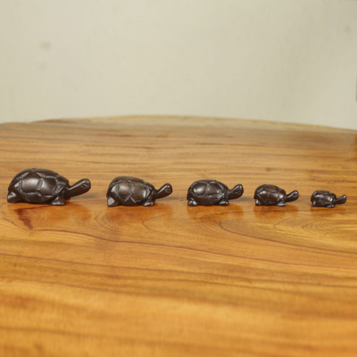 Hand Carved Ebony Wood Turtle Sculptures Set of 5 'Tortoise Family'
