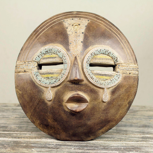 Hand Crafted Authentic African Beaded Wood Mask from Ghana 'Tears of Joy'