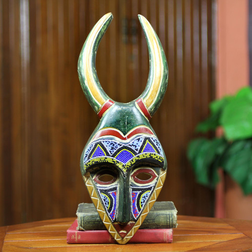 African Beaded Male Rital Mask 'Bapende Celebration'