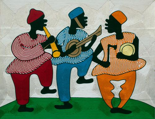 Ghanaian Musicians Threadwork Wall Art 'Happy Times'