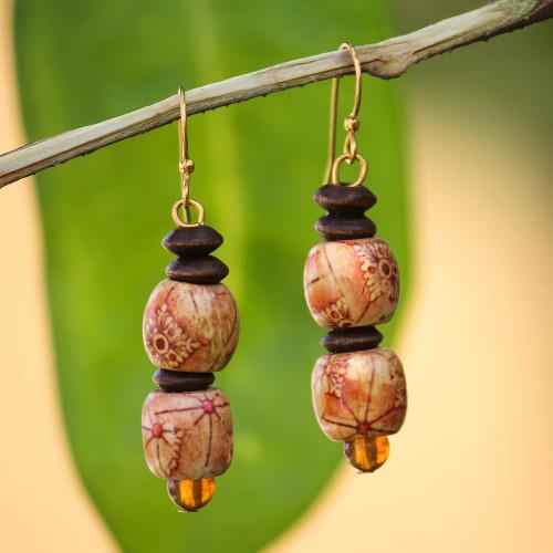 African Handmade Eco Friendly Wood Bead Earrings 'Peace'