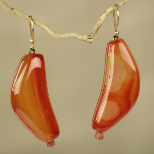 Agate and Bauxite Hook Earrings Crafted by Hand 'Nhyira'