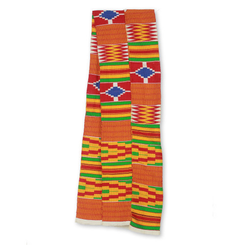 2 Strips Handwoven Red Yellow Green African Kente Scarf 'Shield'