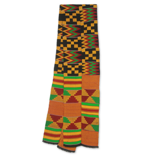 Bright Geometric Handwoven Cotton Blend Kente Scarf 2 Strips 'First Lady'