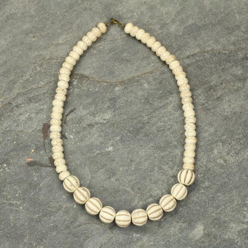 Fair Trade African Cream-Colored Agate Beaded Necklace 'Truest Heart'