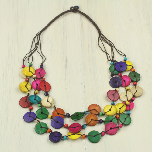 Colorful Necklace Hand Crafted of Coconut Shell Beads 'Easy Living'