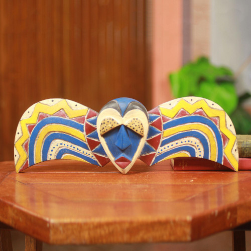 Unique Colorful African Tribal Mask Handmade in Ghana 'Bobo Butterfly'