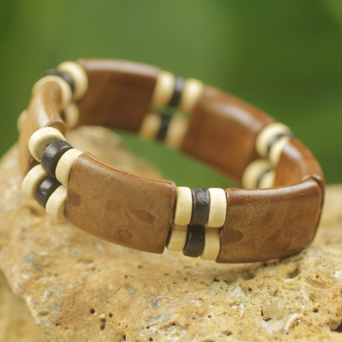 Eco Friendly Wood and Recycled Bead Bracelet from Ghana 'Coffee Connection'