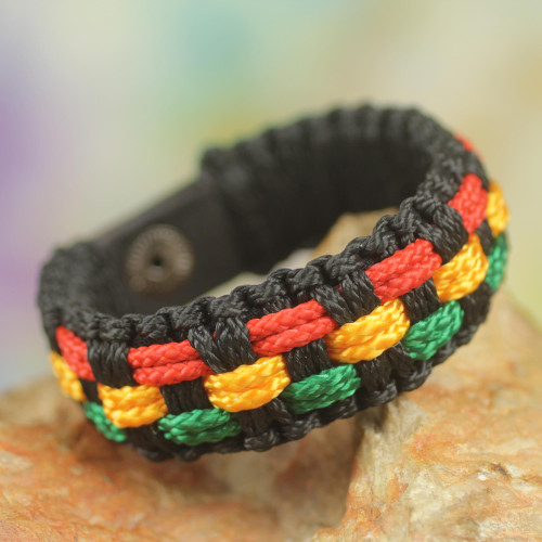 Black Cord Handrafted Men's Colorful Wristband Bracelet 'Black Forest Paths'