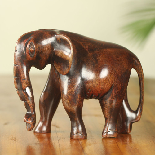 Elephant Sculpture Hand Carved from Ebony Wood 'African Bush Elephant'