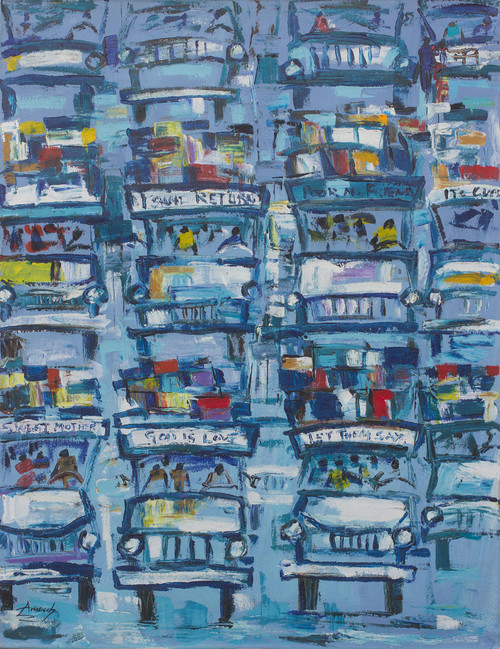 Traditional Ghanaian Bus Station Signed Painting 'Wonderful Trotro Station'