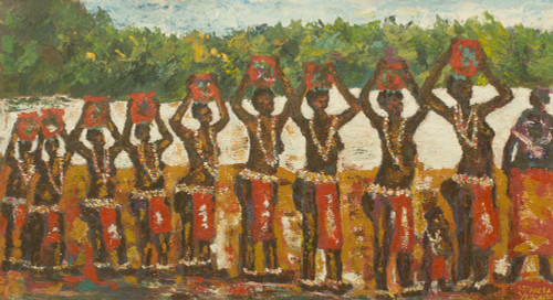 African Coming of Age Theme Signed Painting from Ghana 'Dipo Match'