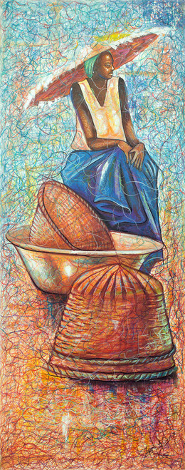 African Contemporary Art Signed Painting from Ghana 'Waiting for the Manna'