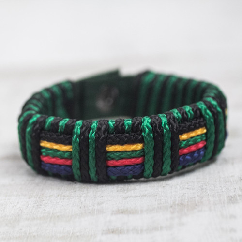 Artisan Crafted Colorful Men's Wristband Bracelet 'Kente Spirit'