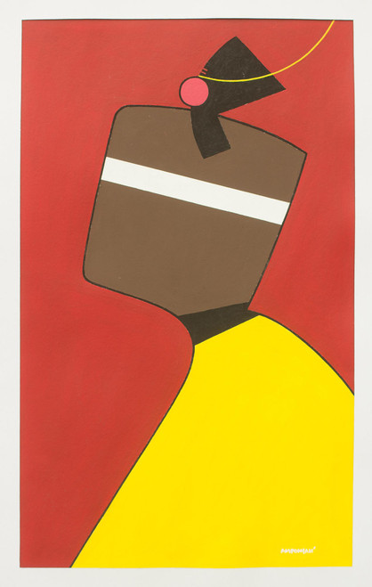 Red and Yellow Abstract African Fashion Painting 'Women Today'