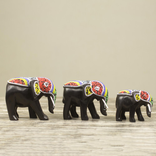 Beaded Wood Hand Carved Elephant Sculptures Set of 3 'Colorful African Elephants'