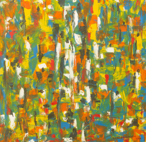 Abstract Multi-Color Original African Market Painting 'African Market'