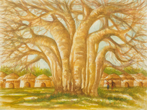 African Village and Baobab Tree Signed Original Painting 'The Baobab Tree II'
